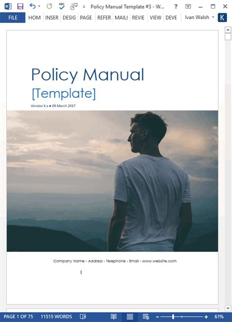 Policy Manual Template (MS Word/Excel) – Templates, Forms