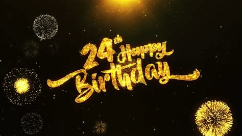 24th Happy Birthday Text Greeting Stock Footage Video (100