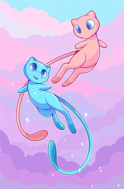 I wanted to draw cute mews ;u;   Mew and mewtwo, Pokemon