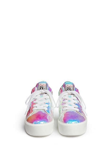 ASH - 'Cult' holographic leather flatform sneakers - on