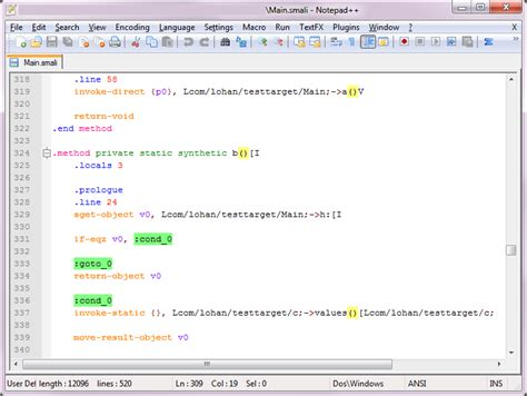 android cracking: smali syntax highlighting for notepad++